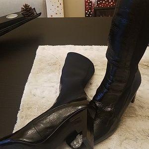 Zara Black Square Toe high heel boots